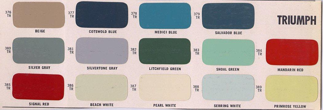 Paint Charts Triumph Club Vintage Triumph Register
