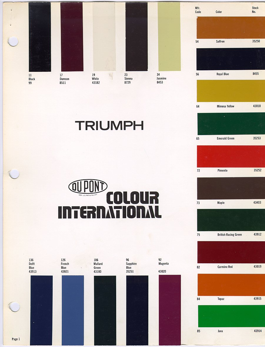 Paint charts triumph club vintage triumph register dupont 1979 pg 1 this chart geenschuldenfo Image collections